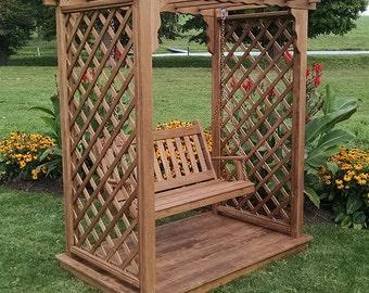 Pressure-Treated Pine Covington 4ft. Garden Arbor Swing With Deck