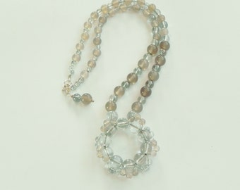 """Gemstone necklace in shades of grey with agate and quartz, 18"""", sterling silver, gray, grey"""