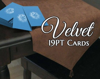 100 Business Cards - Velvet laminated suede cards - 19 PT thick stock - full color custom printed