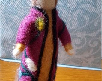 Girl In Her Fancy Coat Needle Felted Figure