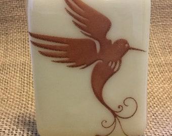 ARTLIGHT Hummingbird Night Light - Brown and Cream fused glass