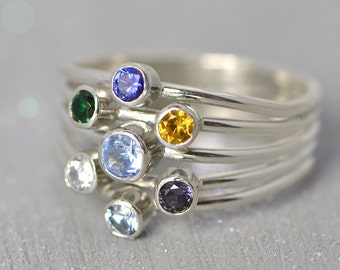 Birthstone Ring,Mother's Ring, Family Ring, Birthstone Jewelry, Grandmother's Ring, Colored Gemstones, Multi Stone Ring, Gift For Her