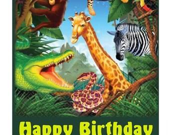 """Jungle Animal Edible Image Cake Topper 7.5""""x 10"""" Kids Cake Baking Supplies"""