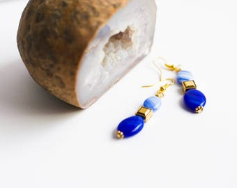 Blue dangle beaded earrings