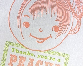 Thanks You're a Peach letterpress card