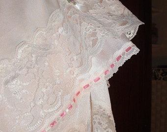Vintage Slip Skirt Re-purposed, Lace Skirt Knee Length Pale Pink