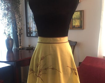 Vintage Apron - Yellow - Embroidered Flowers - 1950s