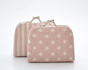 DOT - STRIPE - PINK Linen Cotton - Choose the Pattern - Tiny Kiss lock Coin Purse/Jewelry holder