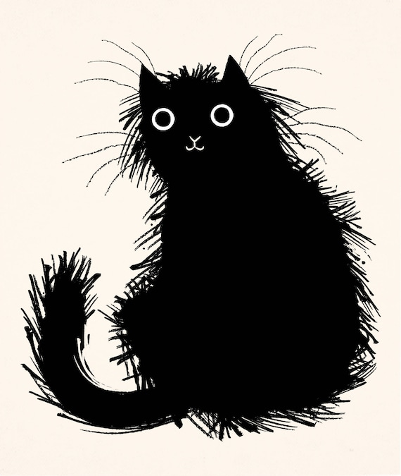 Moggy - Black and White - Cat / Kitten - Limited Edition Art Poster Print by Oliver Lake - iOTA iLLUSTRATiON