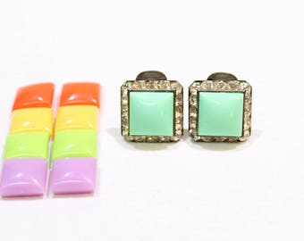 Vintage Interchangeable Clip On Earrings, Mint, Coral, Yellow, Lime, Lavender