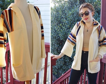 Old School 1970's Vintage Cream White + Navy Blue Tan Striped Hoodie w/ Open Front // size Large // by BROADWAY