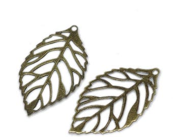 20 leaves (very thin metal) filigree couloeur bronze 24x13mm