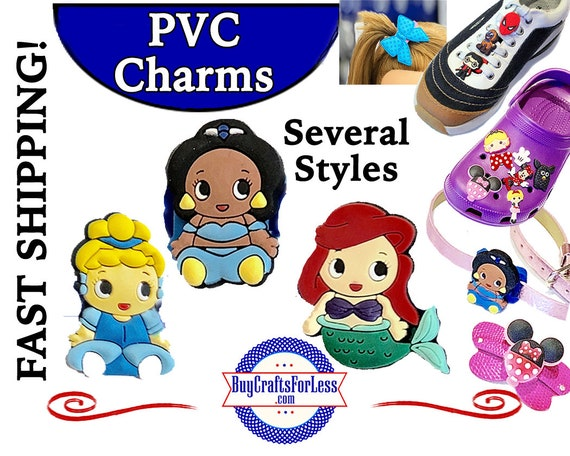 PVC Charms, Princess * 20% OFF 4 * 99cent Shipping * For Shoes, Hair, Pins-Choose back-Button, Pin, Slider, Hair Clip, Velcro