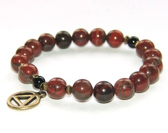 Man's Recovery Bracelet, Large Jasper Beads, Sobriety Gift for Him