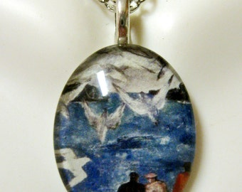 Fishermen with seagulls pendant and chain - SGP12-012
