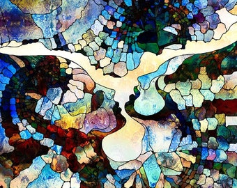 Stained Glass Abstract Mosaic Science Postcard Poster Art Print Q28