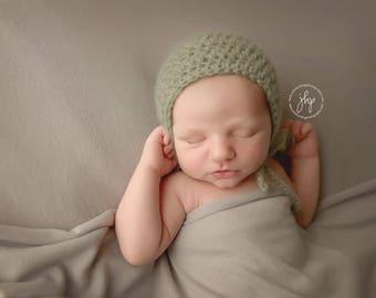 Newborn Mohair Bonnet, Crochet Bonnet, Crochet Baby Hat, Newborn Knit Hat, Newborn Photo Prop, Winter hat, Baby Bonnet, Sage Green Baby Hat