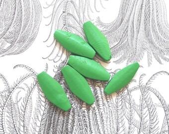 Long Wooden Beads, Green Wood Beads, Macrame Wood beads, Elongated Green Beads,  Flat Beads, 6