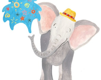 Happy Elephant Greeting Card, perfect for children's birthdays!