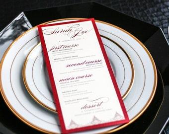 "Asian Wedding Invitations, Formal Dinner Menus, Indian Wedding, Exotic Wedding, Dark Red - ""Delicate Filigree"" Flat Menu, 1 Layer - DEPOSIT"