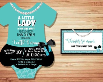 20 baby suit cardstock baby shower invitation little lady girl  label tag baby