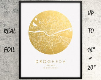 "Drogheda 16""x20"" City Map Gold Print, Real Gold Foil Print, Drogheda Circle City Map, Drogheda Poster, Drogheda Gift, Ireland, GoldenGraphy"