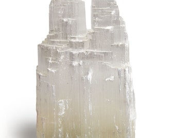 Digging Dolls: Natural White Selenite Double Skyscraper Hand Carved Lamp - 8 Inch Avg. - With Dimmer Switch, Cord and 15 Watt Bulb