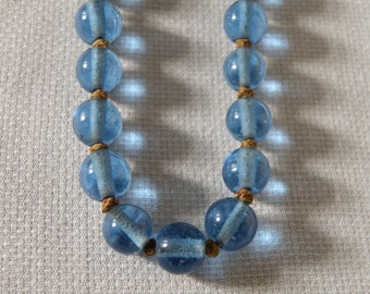 Vivid Blue Glass Bead Necklace with Knotted Cord