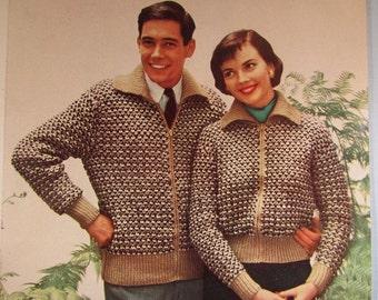 Knit Cardigan Sweater Patterns PDF - 1950's Vintage Pattern, His and Hers Cardigan Sweaters KIY5