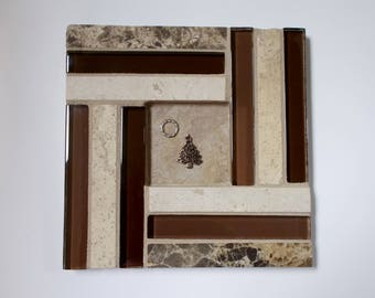 """Tan Brown Glass Marble Travertine Stone Mosaic Tile Trivet with Tree and Wreath 6"""" x 6"""""""