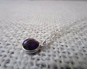 Amethyst glass pendant necklace sterling silver #1200
