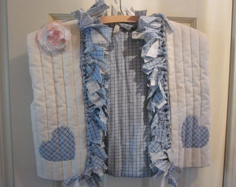 Pretty Shabby Look Quilted Rag Tied Vest