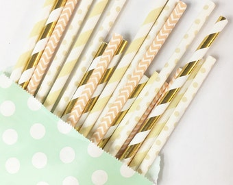 Golden Neutral & Peach straw mix//straws, paper straws, party decorations, party supplies, bachelorette party, baby shower, birthday party,
