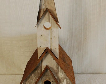 """Barnwood Church Birdhouse with Horseshoe Accent. Measures: 12"""" X 10"""" X 28"""" Tall.  Color of Barnwood May Vary"""