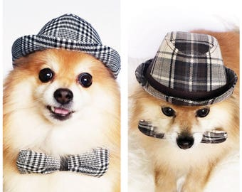 Plaid Fedora for DOGS, CATS! HANDMADE dog hats, dog caps, summer hat, top hat, sun visor hat, sun hat, pet accessories, dog hoodies, outfits