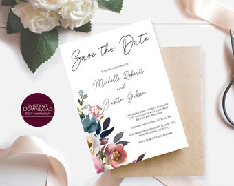 Floral Save the Date Template / Save the Date Printable / DIY Save the Date / Save the Date card / Editable Template / Michelle Collection