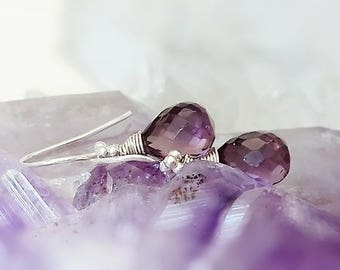 Purple Amethyst Sterling Silver Earrings, African Amethyst Gemstone Earrings, February Birthstone