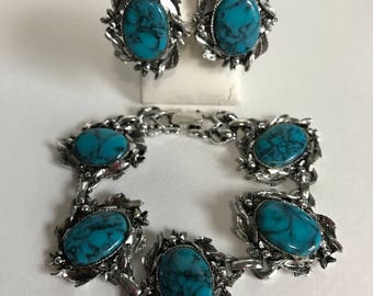 Vintage Silver faux turquoise bracelet and earring set, chunky clip earrings, signed, vintage costume jewelry