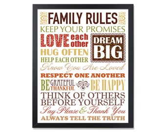 Christian values, House Rules, Family rules poster, Family values sign, Our family rules Wall art decor, Home rules, rules of the house
