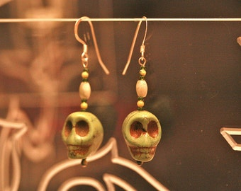 Green Happy Skull Howlite and Stone Earrings
