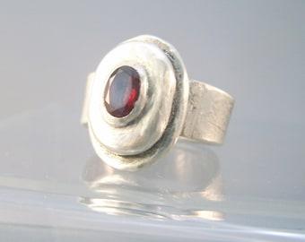 Metal clay oval cubic zirconia garnet color ring