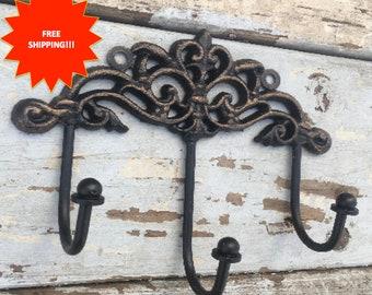 Vintage Style Wall Hook // Shabby Chic Wall Hook //  Antiqued Wall Hook // Coat Rack // Wall Rack // Coat Hook // Wall Hook // Jewelry Rack