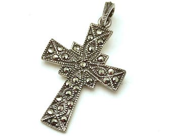 Vintage Sterling Silver Minimalist Marcasite  Cross Pendant       Brand New Condition for her Under 50