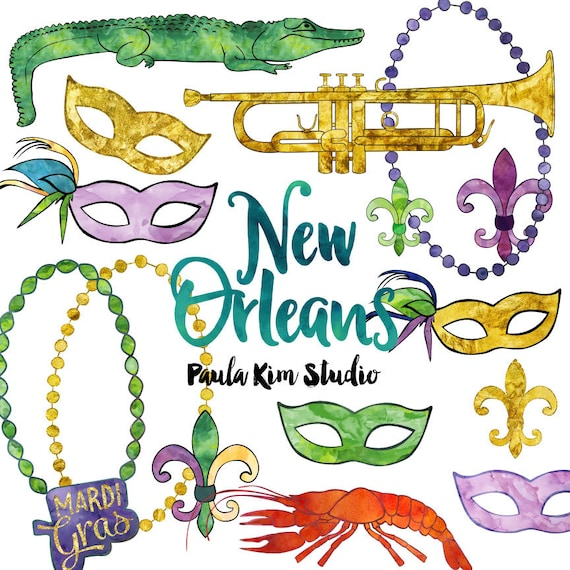 new orleans watercolor mardi gras clip art commercial use rh etsy com new orleans skyline clip art new orleans saints clip art