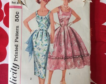 1950s 50s Pretty Day Evening Full Skirt Dress Original Vintage Sewing Pattern Simplicity 2104 Bust 36