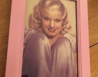 """Jean Harlow colour print in pink frame 6x4"""""""