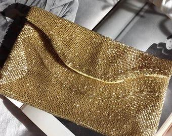 Vintage Walborg Gold Beaded Evening Bag Vintage Walborg Glass Beaded Clutch Vintage Accessory Vintage Walborg Richere Clutch