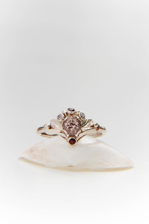 One of a kind engagement ring with morganite, diamonds and garnet, White gold custom ring, Proposal botanical ring, romantic antique jewelry