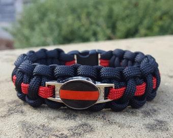 Firefighter, Red Line Paracord Bracelet, Charm Bracelet, Public Service