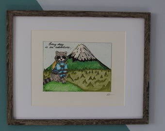 SALE! Adventurous Raccoon, Freehand-drawing, Nursery Decor, Wall Decor, Nursery Wall Art, Woodland Animals
